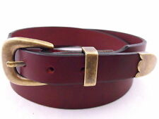 Burgundy Latigo Hand Crafted American Made Leather Belt Antique Buckle Set
