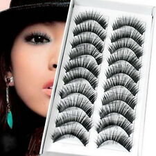 10 PAIRS BLACK False Eyelashes Hair Soft Fake Eye Lashes Human Hair Lash