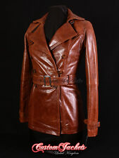 Ladies PARIS Tan Real Lambskin Leather TRENCH COAT Belted Jacket Stylish Mac