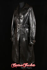 Ladies PARIS KNEE LENGTH Black TRENCH COAT Belted Real Leather Long Jacket Mac