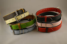 dog collars red brown black green blue pink natural fusion real leather
