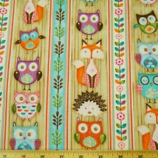 Woodland Critters Animals In Lines 100% Cotton Fabric