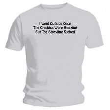 I Went Outside Once - NEW Funny T-Shirt - Grey