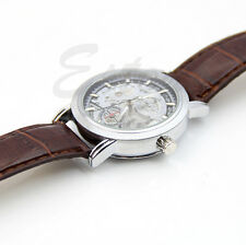Men New Classic Automatic Mechanical Skeleton Date Synthetic Leather Wrist Watch