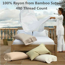 QUEEN SUPER LUXURY 100% BAMBOO SHEET SET 4 PIECES WHITE CREAM COLOR