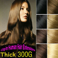 300g 10pcs Clip In REMY Real Human Hair Extension,Black,Brown,Blonde,Full Head
