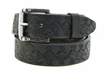 Men's 1 1/2 Black Leather Belt Skull And Celtic Knot Work Design Matching Buckle