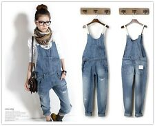 Womens Hot Fashion Washed Casual Jumpsuit Romper Overall Jean Frayed Denim Pant
