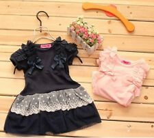 2014 new Baby girl fashion lace bow cotton short-sleeved summer dress size 1-6y