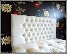 Top Quality Leather Crystal Diamante Headboard  Buttons Double King Queen Size