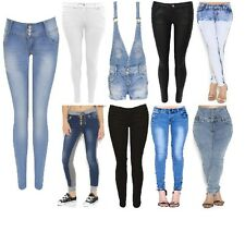 Ladies Women Jeans Faded Slim Fit Denim Blue Skinny Jeans Collection Size 6-16