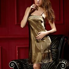 Sexy  Temptation Spaghetti Strap Nightgown Night Skirt Faux Silk Sleepwear