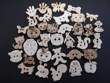 6 & 8pc Packs 15-20mm Wooden Character Buttons for Sewing, Arts & Crafts