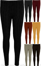 New Ladies Cable Knitted Leggings Womens Full Ankle Womens Trouser Pants 8-14