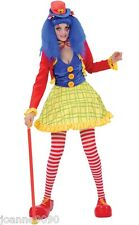 LADIES COCO THE CLOWN GIRL TEEN HOOPED FANCY DRESS COSTUME & HAT CIRCUS TUMBLE