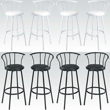 Set of 4 Black or White Metal Swivel Faux Leather Seat Pub Bar Stools Barstools