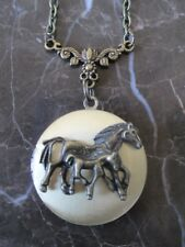 USA Seller Large Gold & Bronze Mother Horse with Pony Foal Photo Locket Necklace