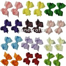 "12pcs 2.5"" Hair Bow Alligator Clips Boutique Girls Baby Solid Grosgrain Ribbon"