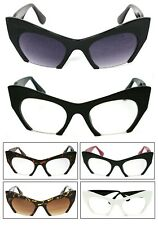 Retro Fashion Glasses Sunglasses Angled Cateye Cropped Clear Lens 3 Colors Avail