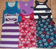 Girls FADED GLORY TANK TOPS~size 6-6X SMALL~NWT Choice Purple Blue Red~STRIPED