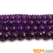 "Amethyst Purple Jade Gemstone Faceted Round Beads 15"" 6mm 8mm 10mm 12mm 14mm"