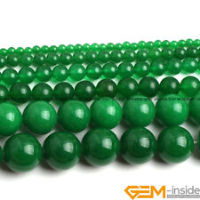 """Green Jade Round Beads For Jewelry Making Strand 15"""" 6mm 8mm 10mm 12mm 14mm 16mm"""