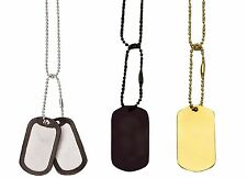 Military Type 2-Piece Dog Tags, Chains and Silencers Set - Silver Black or Gold