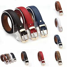 Women Belts 7 Colors Casual Dress Faux Leather Belt Twist Turn Buckle Waistband