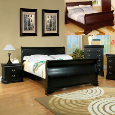 Traditional Black Cherry Espresso Stylish Sleigh Design Twin Full Queen King Bed