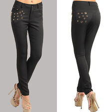 Skinny pants with gold studs design and zippers