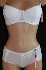 White Bra Set with Shorts Knickers Push Up Padded Underwired New with Tags