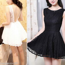 Women Lady Backless Lace Perspective Strap Sexy Evening Mini Dress M2533