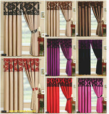 """Luxurious Damask Fully lined Pencil Pleat Pair of Curtain 66""""x72"""" & 90""""x90"""""""