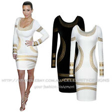 dp88 Celebrity Style Embellished Metallic Bandage Bodycon Fitted Party Dress