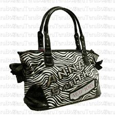Ladies New York Anna Smith Black White Zebra Sequins Ribbon Diamante Bag / Hobo