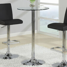 SMALL 3 Options Black Laminate Glass Top Silver Chrome Metal Round Bar Pub Table
