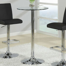 Tempered Glass Top Sturdy Chrome Metal Base Small Round Bar Pub Table by Coaster