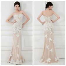 New White Lace Nude Tulle Mermaid Formal Evening Party Dresses Prom Wedding Gown