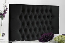 4FT Small Double Luxury Upholstered Headboard Crystal Diamante/Button Loom Queen