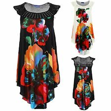 Women's Crochet Floral Print Sleeveless Studded Side High Low Ladies Top Tunic