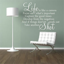 """""""Life is like a camera focus on what's important""""Quote wall Art Inspirational"""