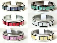 Iridescente Colore INTARSIO IN ACCIAIO INOX 6mm BAND RING Mens Donne ~ Thumb Ring