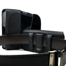Large Formal Business Leather Pouch Case Holster Belt Clip Curved Flap - Black
