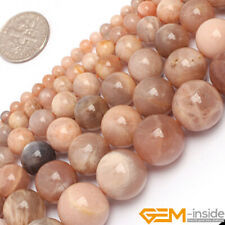 Natural Smooth Round Sun Stone Jewelry Making Loose Gemstone beads strand 15""