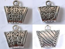 4Type Choose Tibetan Silver Floral Carved Connectors Bails Beads For Wrap Scarf