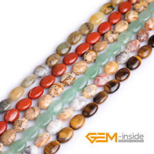 """Wholesale Lot 10x14mm Natural Assorted Stones Oval Beads For Jewelry Making 15"""""""