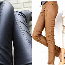 Women Sexy PU Jeans Leather Low Waist Pencil Pants Slim Tight Leggings Trousers