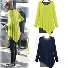 Ladies Asymmetric Hem Long Sleeve Faux Twinset Tunic Blouse Oversize T-shirt Top