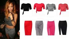 LADIES RED BLACK GREY KNOT PENCIL STYLE JERSEY SKIRT CELEB INSPIRED SIZE 8-14