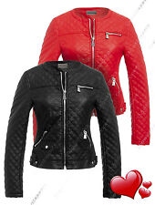 Size 8 10 12 14 NEW Womens BIKER JACKET Crop FAUX LEATHER Ladies ZIP Coat